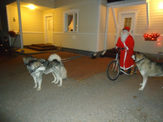 """Windy, TImmy ja Handy talomme oman """"joulupukin"""" kanssa"""