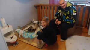 Hannu ja Helmi saivat käydä katsomassa Siiriä ja pentuja :)